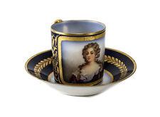 Sevres France Porcelain Cup & Saucer c.1900. Hand Painted Woman