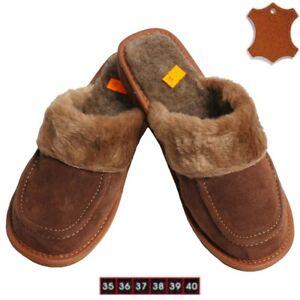 Damen-Warme-Lammfell-Schafwolle-Fell-Hausschuhe-Pantoletten-Pantoffeln-Wildleder
