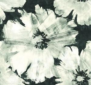 Wallpaper-Modern-Abstract-Silver-Gray-Taupe-Large-Floral-on-Black