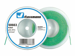 Viessmann-68663-Cable-Sur-Bobine-de-Deroulage-0-14-MM-Vert-25-M-Neuf