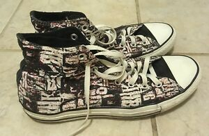 Converse-All-Star-Chuck-Taylor-Men-s-Sneakers-Black-White-Red-Distressed-Sz-10M