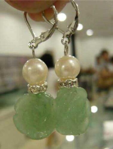 en forme de fleur naturel vert jade boucle d/'oreille dangle