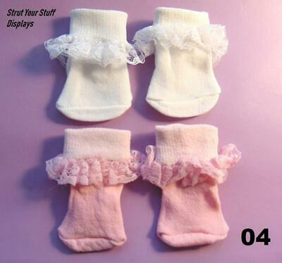 """Perfect White Ruffled Lace Ankle Socks for 17-18/"""" Dolls"""