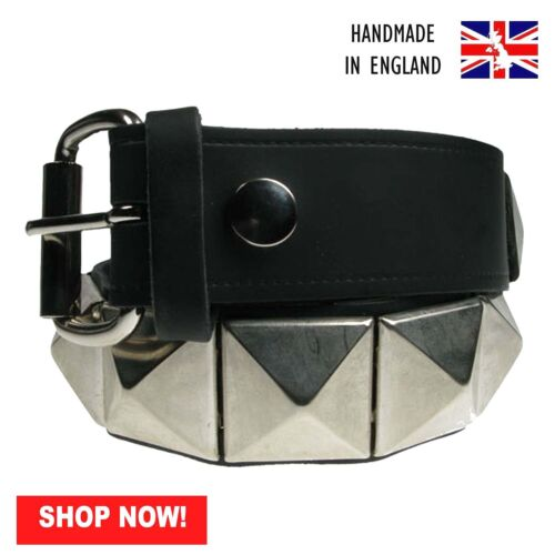 38mm Silver Large Pyramid Black 100/% Real Leather Belt Handmade In UK Press Stud