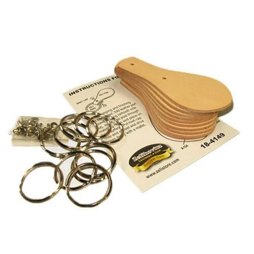 Key Fob Kit 10 Pack Vegetable Tanned Tooling Leather with Key Ring and Rivet