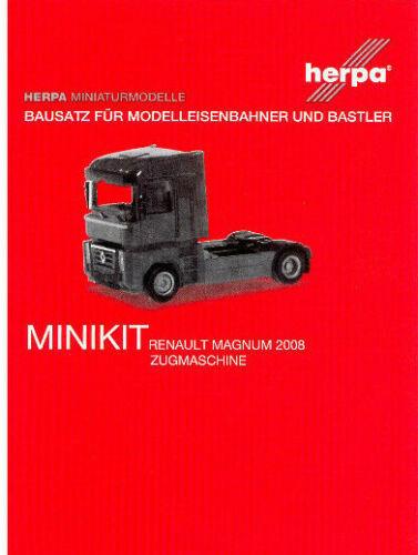 HERPA MiniKit 1:87//H0 LKW Renault Magnum 2008 Zugmaschine weiß Bausatz #013642