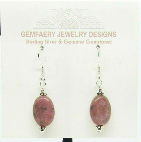 Sterling Silver RHODONITE Oval Gemstone Dangle Earrings #1946...Handmade USA
