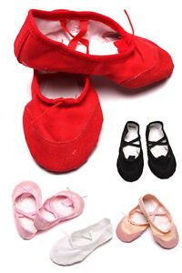 Soft-Kids-Girls-Lady-Yoga-Ballet-Dance-Shoes-Canvas-Leather-Sole-Elegant-Soft