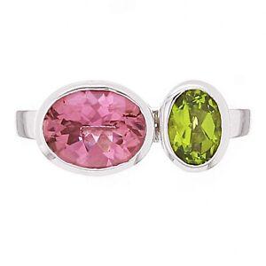 14k-White-Gold-3ctw-Pink-Tourmaline-amp-Peridot-Bezel-Ring-Size-6-75