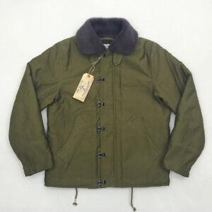 BOB-DONG-Front-Hook-amp-Zipper-N-1D-Deck-Jacket-Vintage-US-Navy-Mens-Military-Coat