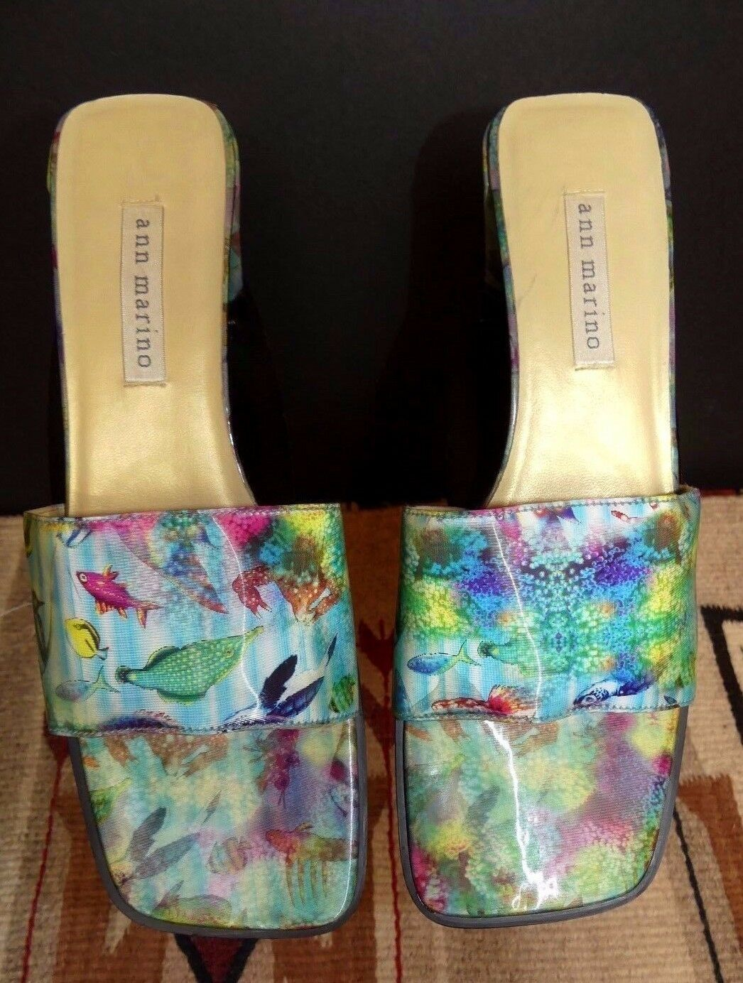 Women's San Marino FUN Ocean Optic Print Kitten Heel Slides Sz. 8M MINTY