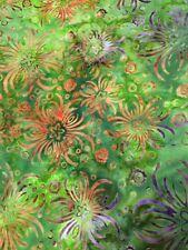 Batik Stoffe Patchwork Baja Beeze Grün Bunt mit Blumen 10x110 cm