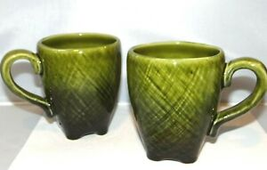TARGET HOME Coffee Cups Mugs Set of 2 Green Cosshatched Footed Stoneware 12oz. | eBay