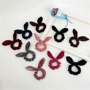 Velvet-Bow-knot-Scrunchies-Bunny-Ears-Hair-Ring-Stretch-Hair-tie-Ponytail-Holder
