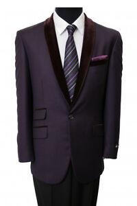 Men's 1 Button Blazer Velvet Shawl Collar Dinner Party Suit Tuxedo Jacket Coat