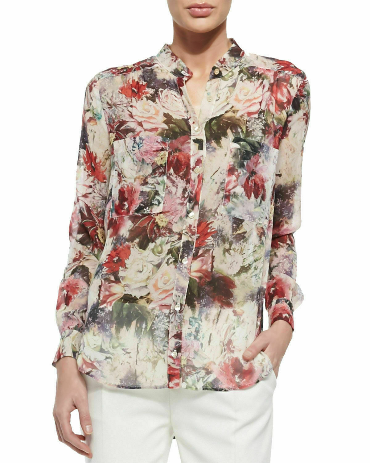HAUTE HIPPIE damen CELEBRITY WEAR 100% SILK BLOUSE SHIRT TOP  NWT XS S M