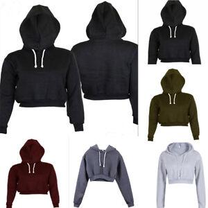 Women-039-s-Hoodie-Long-Sleeve-Sweatshirt-Jumper-Sweater-Crop-Top-Coat-Pullover-Tops