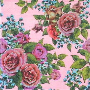 4 Papier Déjeuner Serviettes roses /& butterfilies DECOUPIS 33x33cm sdwi 003501