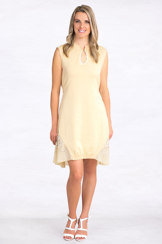 NEW  ITALIAN DESIGNER SISTES Loose Fit Sequin Women Dress Size S 8 10 Beige