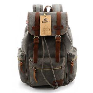 de266f9bad30 Image is loading Vintage-Men-Casual-Canvas-Leather-Backpack-Rucksack -Bookbag-