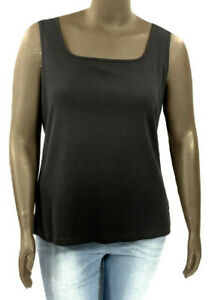 New-KAREN-SCOTT-Size-X-Small-black-stretch-knit-sleeveless-square-tank