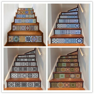 13x Vinyl 3D Stair Riser Decals Staircase Stickers Wall Tile Mural Self Adhesive