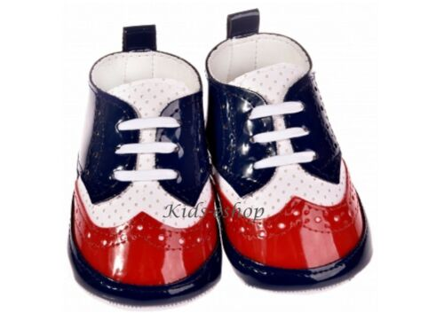 BABY BOY PATENT SOFT SHOES CHRISTENING WEDDING SMART FORMAL PARTY Blue//Red
