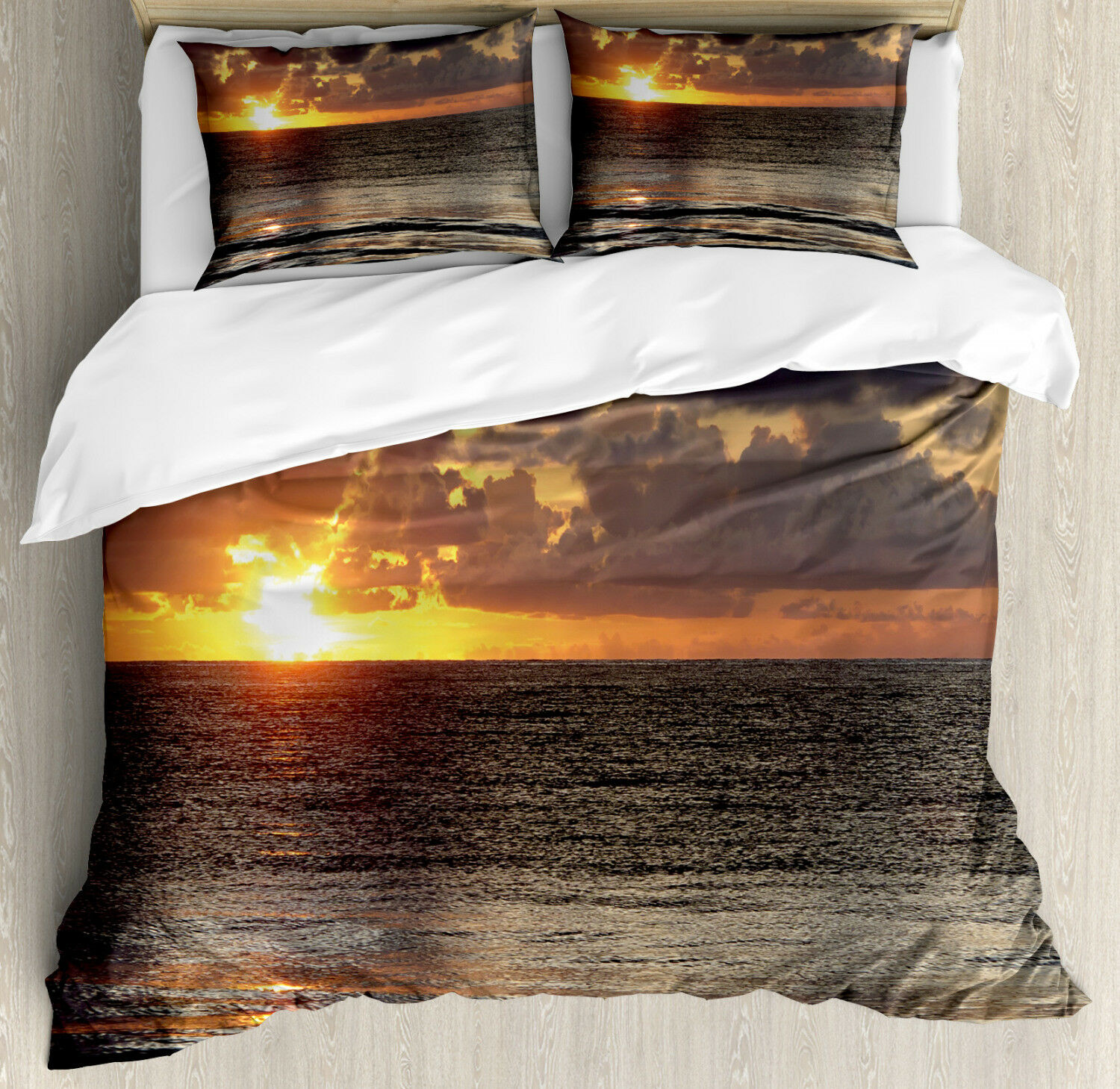 Ocean Duvet Cover Set with Pillow Shams Sunrise Clouds Cancun Print