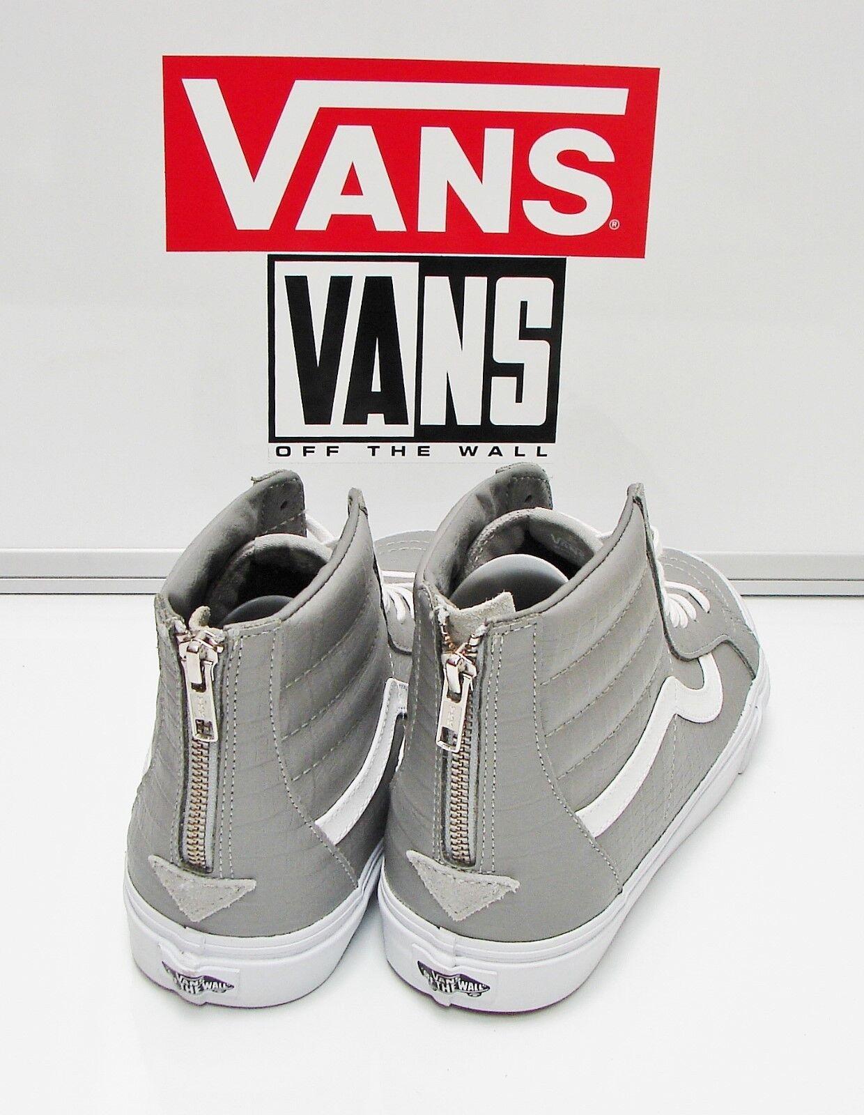 Vans SK8 Hi Zip CA Croc Leather Wild Dove VN-0XH9FCU Men's Size  12
