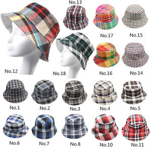Men Women Bucket Grid Checks Boonie Plaid Hunting Fishing Outdoor Summer Cap Hat