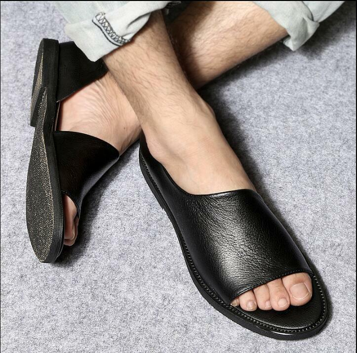 Summer Men Genuine Leather Roma Flat Flat Flat Slip On Loafers Sport Sandals shoes 6c3fee