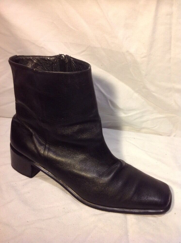 Floran's Black Ankle Leather Boots Size 42
