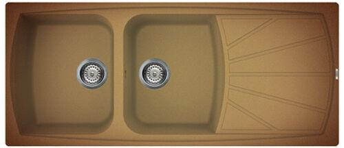 lavello incasso cucina 2 vasche cappoggio 116x50 terra di francia elleci