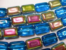 24 Czech Glass Aqua Vitrail Rectangle beads 8x12mm