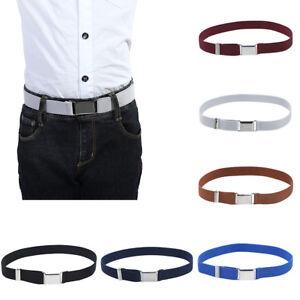 Kids Boys Elastic Buckle Belt 4Pcs Adjustable Belt with Silver Square Buckle Belt for Children