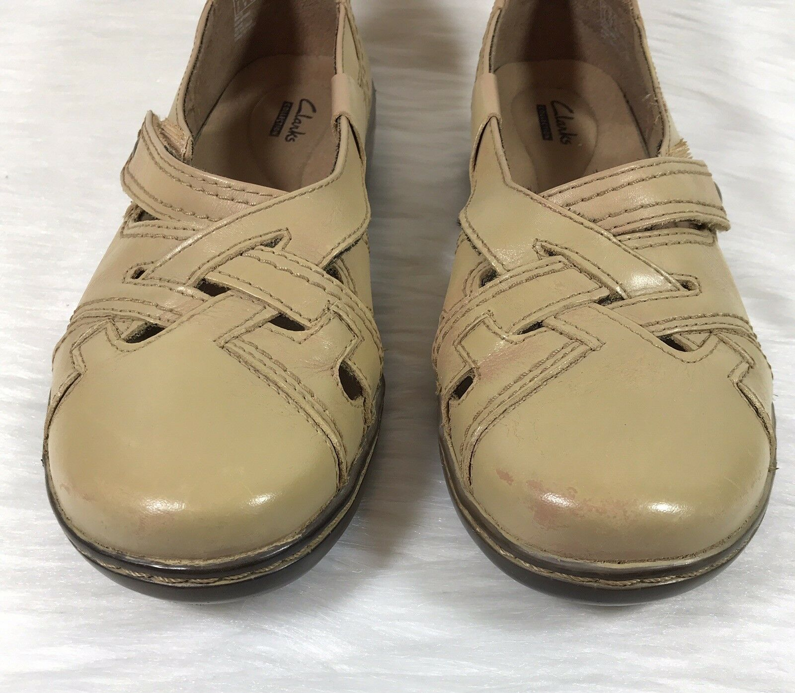 Clarks Clarks Clarks Collection Women's Flat shoes Beige Leather Cut out Size 9.5 M 46f7dc