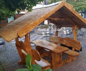 Details Zu überdachte Sitzgruppe Gartengarnitur Rustikal Massiv Einzigartig