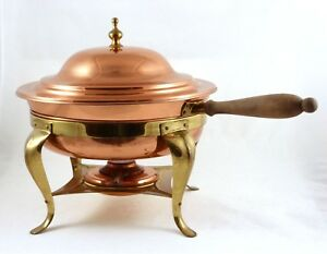 Copper-Chafing-Dish-Double-Boiler-Traditional-Brass-Aluminum-2-Qt-12-034-Complete