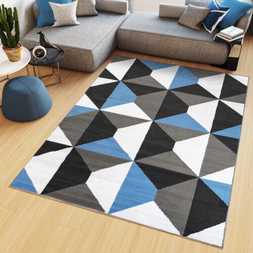Teppich Modern Geometrisch Vierecke Wohnzimmer Büro Design ÖKOTEX Kurzflor