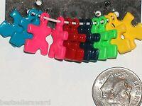 12pc Little Autism Puzzle Piece Charm Pendant For Necklace Complete Set Rainbow