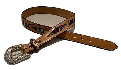 Reg and Big Nocona Ribbon Inlay Leather Belt N2475702move