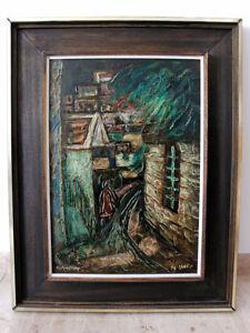 Oil-Painting-Israeli-Artist-ITZHAK-AMITAI-Signed-framed-1973-Museum-Impress