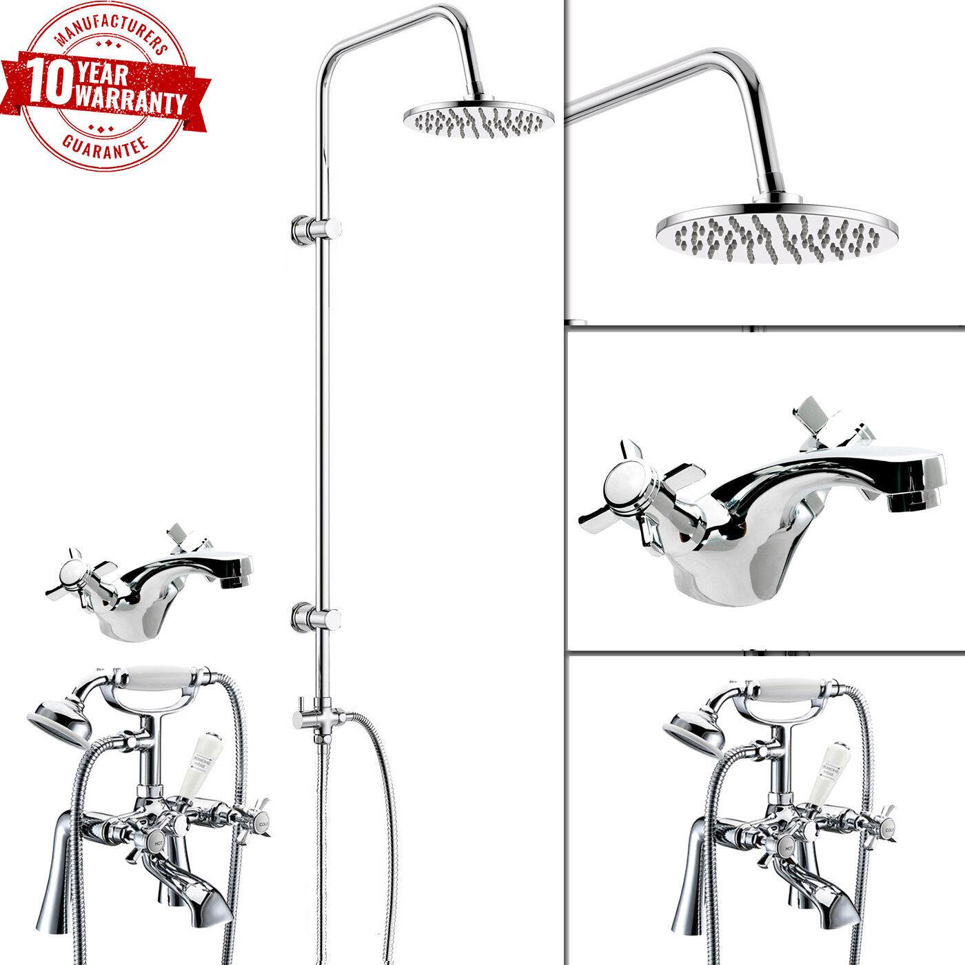 Traditionnel bain douche Mélangeur avec 3 Way Round rigide Riser Kit & mono bassin robinet