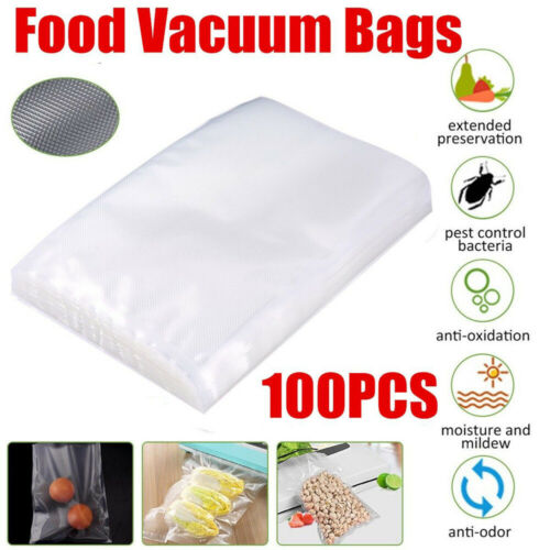 100pcs Strong Vacuum Sealer Food Bags Storage Textured Pouches Seal Embossed Vac