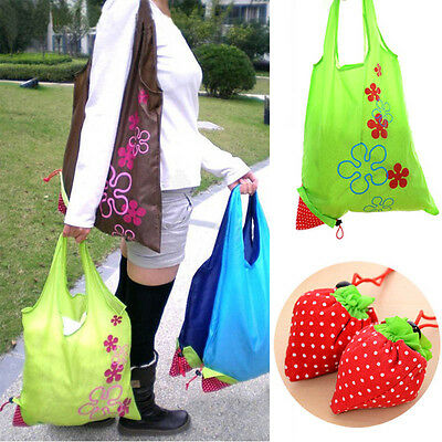 New Eco Storage Handbag Strawberry Foldable Shopping Bags Reusable Bag 8 colors