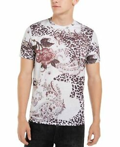 Guess-Mens-T-Shirt-White-Size-Small-S-Floral-Animal-Printed-Crewneck-Tee-44-209