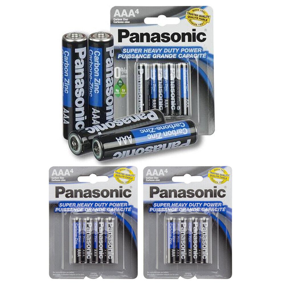 12 X Panasonic AAA Batteries Super Heavy Duty Carbon Zinc Battery 1.5V EXP. 2022