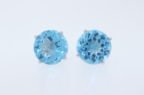 Nouveau 14k or Blanc 5.0 Ct Rond 9 mm Londres topaze bleue Boucles d/'oreilles Clou