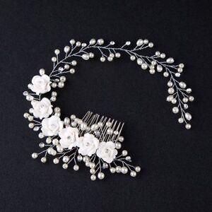 Wedding-Jewelry-Hair-Comb-Crystal-Bride-Pearl-Flower-Hairband-Tiaras