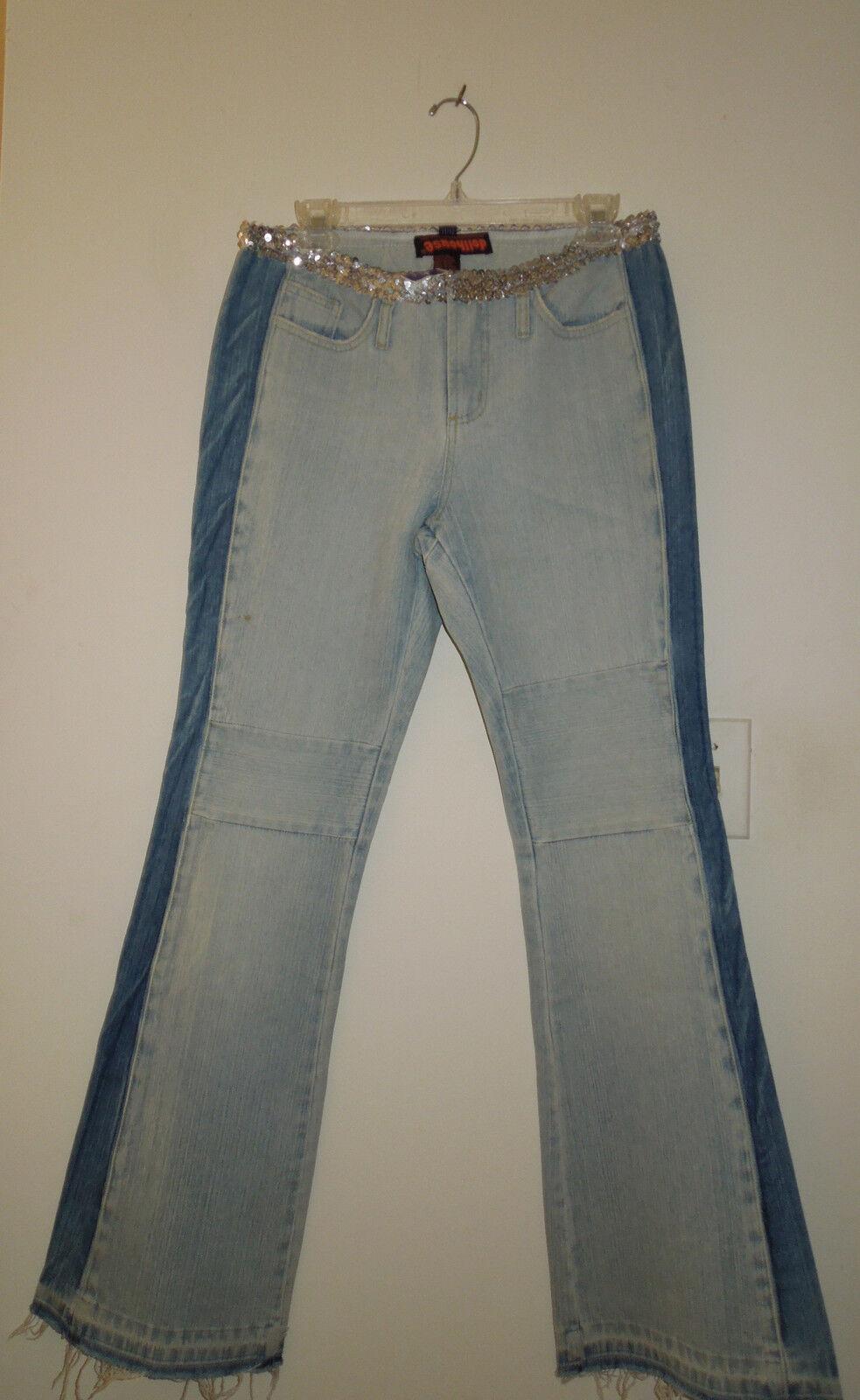 NEW   Dollhouse 2-Tone 100% Cotton Jeans w Tuxedo Stripe & Sequin Waist 11 12